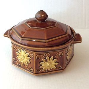 Vintage Brown Yellow Sunflower Soup Tureen Bowl